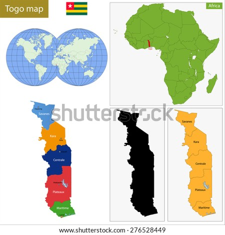 Administrative division of the Togolese Republic, colorful map - stock vector