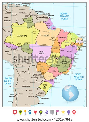 Administrative divisions map of Brazil with flat icons. Vector illustration.