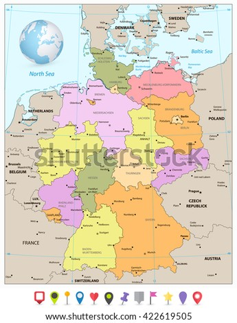Administrative divisions map of Germany with flat icons. Vector illustration. - stock vector