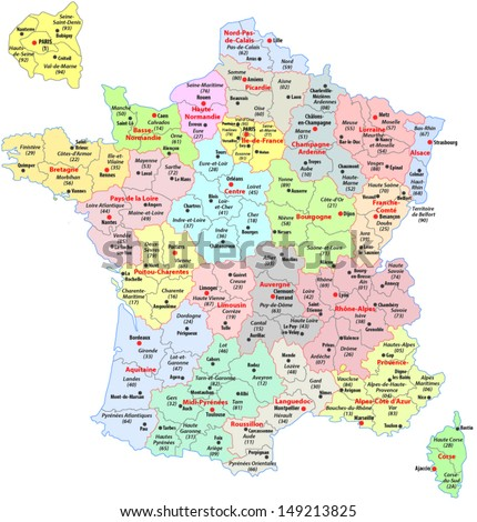 administrative divisions of France - stock vector