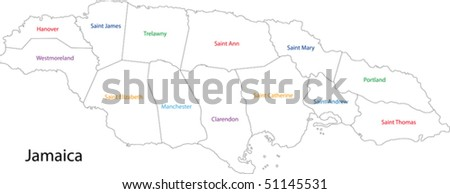 Administrative divisions of Jamaica - stock vector