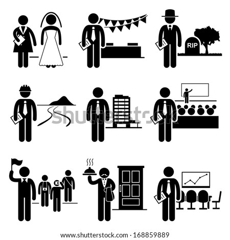 Administrative Management Services Jobs Occupations Careers - Wedding Planner, Event, Undertaker, Landscaper, Property Manager, Conference, Tour Guide, Butler, Meeting - Stick Figure Pictogram - stock vector