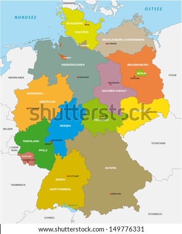 administrative map of Germany - stock vector