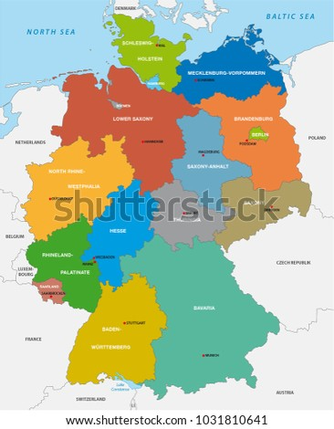 administrative map of the federal republic of germany in english