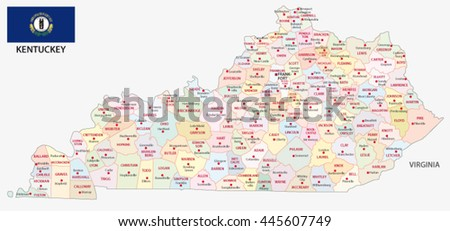 administrative map with flag of the US state kentucky