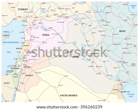 administrative, political and road map of the middle east - stock vector