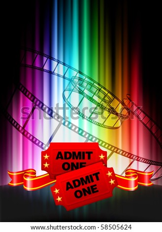 Admission Tickets on Abstract Spectrum Background Original Illustration