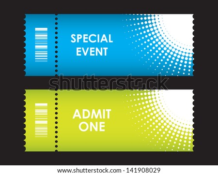 admit one cinema ticket with special design - stock vector