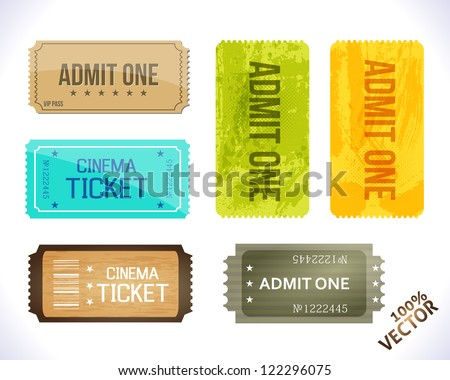 Admit one. Different Stickers. Vector design. - stock vector