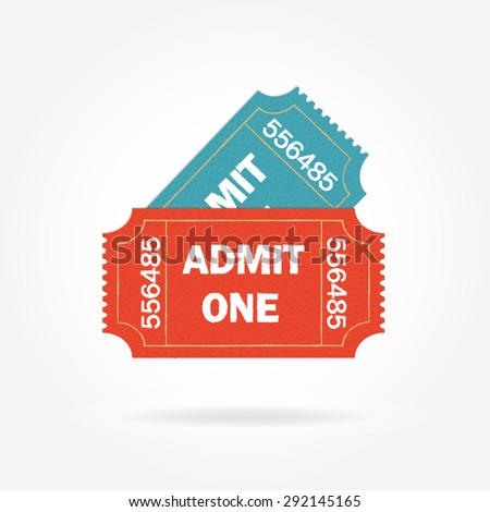 Admit one ticket isolated on white background. Two vintage cinema tickets. Colorful vector illustration. - stock vector