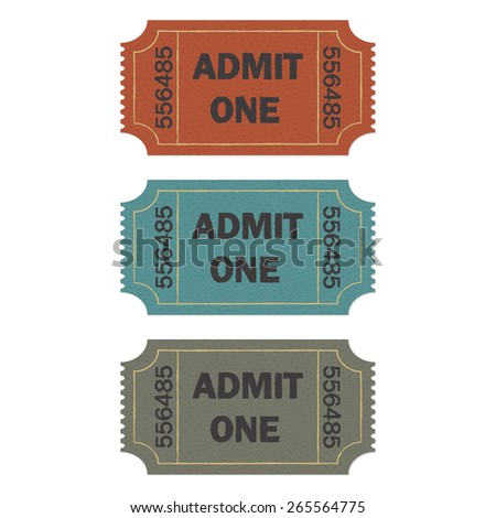 Admit one ticket set isolated on white background. Colorful vector illustration of cinema or theater retro ticket. - stock vector