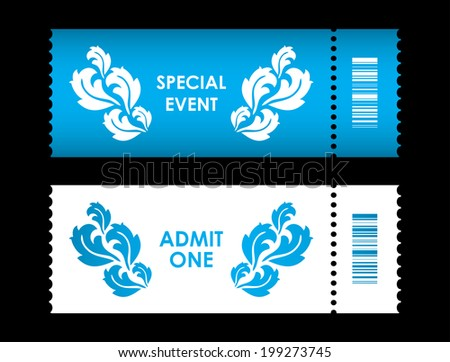 admit one ticket with special flower design - stock vector