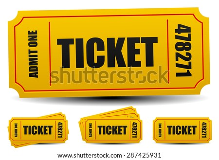 Admit one tickets. 4 compositions.  - stock vector