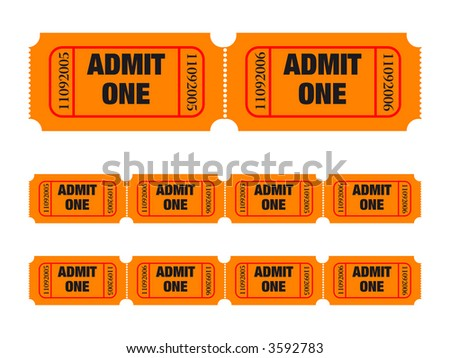Admit one tickets. Easy to edit colors and numbers. Vector Illustration - stock vector