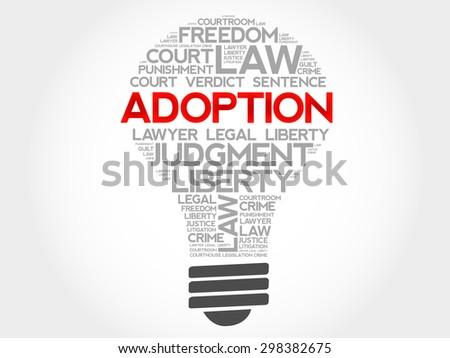Adoption bulb word cloud concept - stock vector