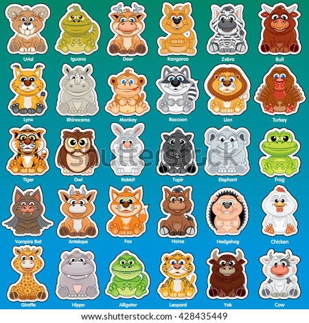 Adorable Animal Cartoons. Cute Zoo Animals Icon Set. Vector Labels and Stickers for Children Print Design - stock vector