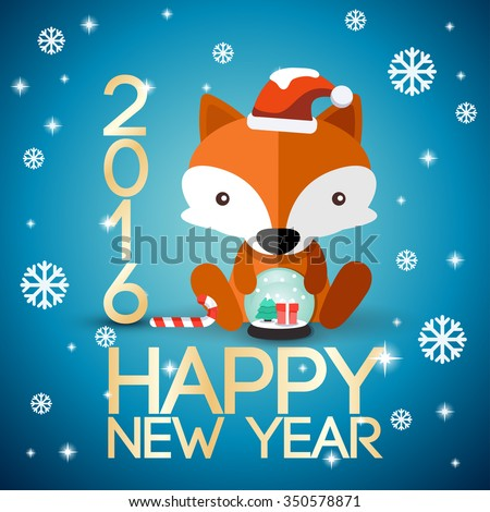 Adorable Baby Animal On 2016 New Year Greeting Card : Vector Illustration - stock vector