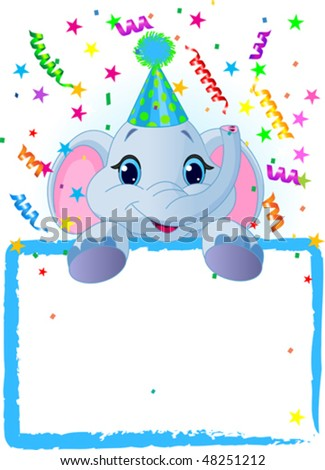Adorable Baby Elephant Wearing A Party Hat, Looking Over A Blank Starry Sign With Colorful Confetti