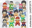 adorable cartoon boy group - stock vector