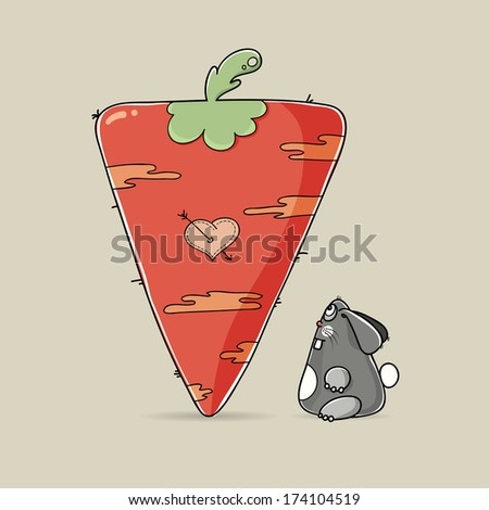 Adorable cartoon Valentine rabbit looking at big red carrot with a painted heart for a loving greeting card design for your sweetheart on Valentines Day - stock vector