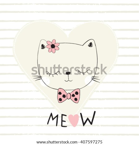 adorable cat with heart on striped background, love card with cat, T-shirt design for kids vector illustration - stock vector