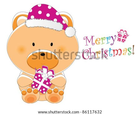 Adorable christmas animal greeting (Bear version, 9 different animals in total) - stock vector