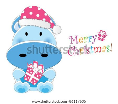 Adorable christmas animal greeting (Cow version, 9 different animals in total) - stock vector