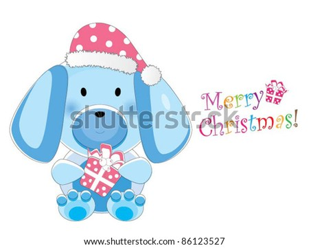 Adorable christmas animal greeting (Puppy version, 9 different animals in total) - stock vector