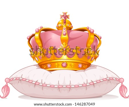 Adorable crown on the pillow - stock vector
