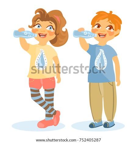 adorable cute kids girl boy drinking stock vector 752405287