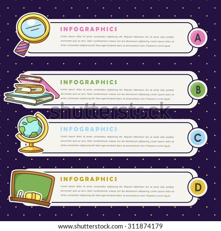 adorable education related infographic design template with spotted background - stock vector