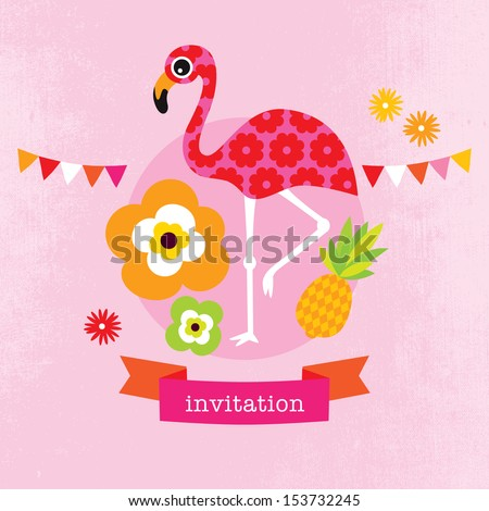 Adorable exotic flamingo flower blossom illustration little girl baby announcement card template in vector - stock vector
