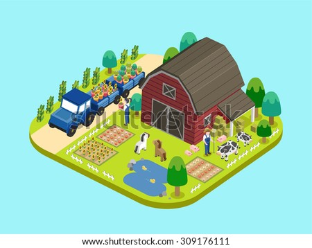 adorable farmland concept in flat 3d isometric graphic