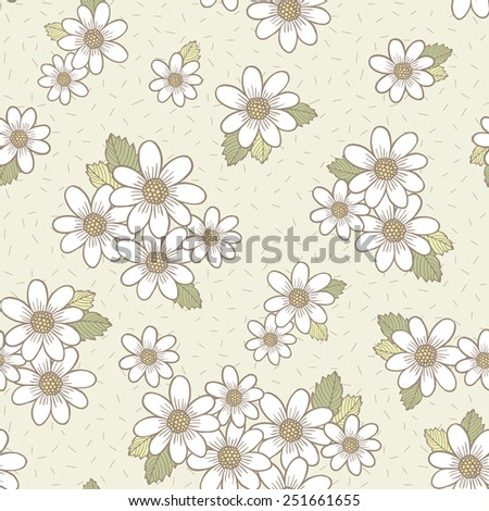adorable flower seamless pattern over beige background - stock vector