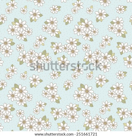 adorable flower seamless pattern over blue background - stock vector