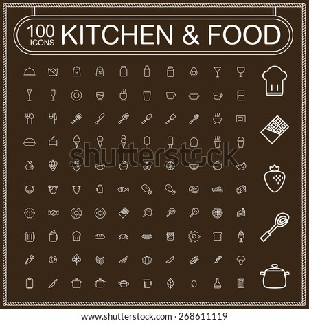 adorable food and kitchenware icons set over brown background - stock vector