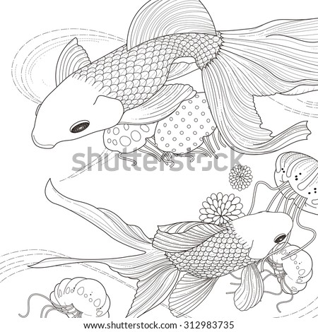 adorable golden fish coloring page in exquisite style - stock vector