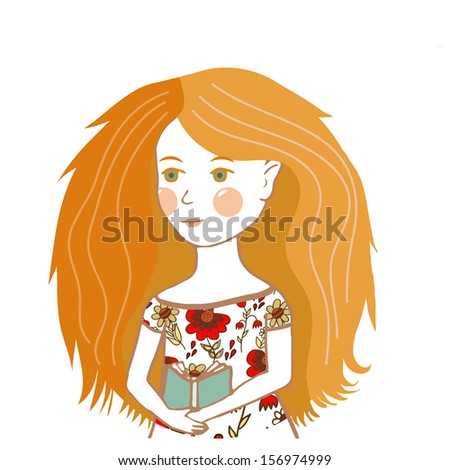 Adorable isolated young pretty cartoon girl with book