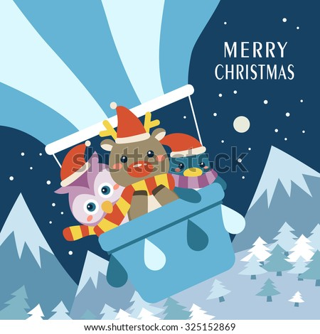 adorable Merry Christmas card design with lovely animals - stock vector