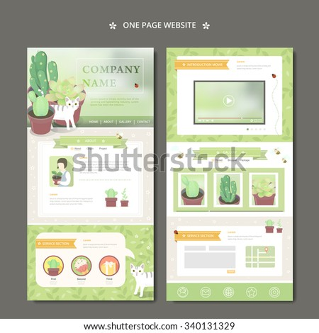 adorable one page web design with lovely succulent plants - stock vector