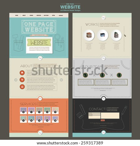 adorable one page website design template with sewing thread element - stock vector