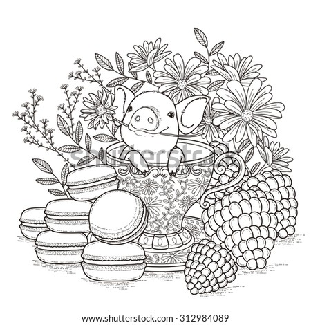 adorable piggy coloring page in exquisite style - stock vector