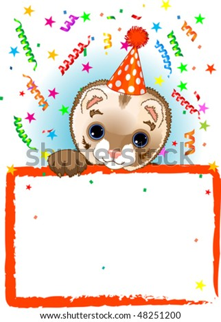 Adorable Polecat Wearing A Party Hat, Looking Over A Blank Starry Sign With Colorful Confetti
