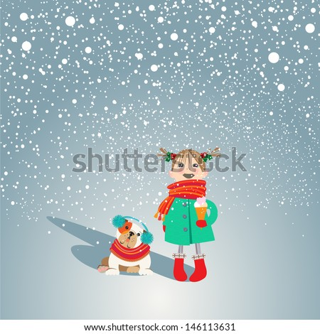Adorable puppy and little girl in cute outfit fascinated with first snow. Holiday concept. EPS 10 Vector illustration.   - stock vector