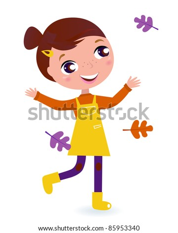 Adorable running Girl with Autumn Leaves. Vector cartoon Illustration. - stock vector
