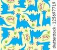 Adorable seamless kids pattern with dinosaurs - stock photo