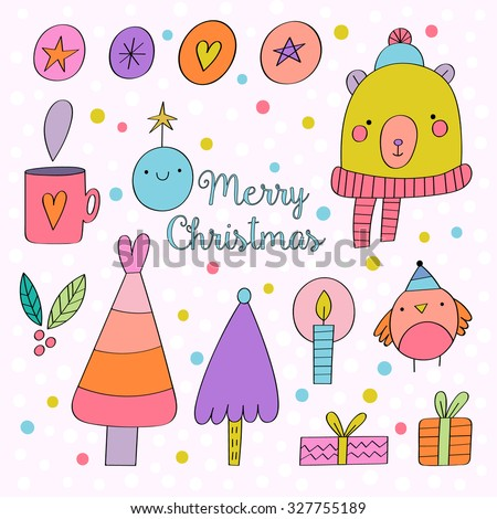 Adorable set of hand drawn seasonal elements in cartoon style. Cute Christmas illustrations for your holiday design. Fir tree, bear, bird, candle, gifts, chocolate cup, snowflakes in cartoon style. - stock vector
