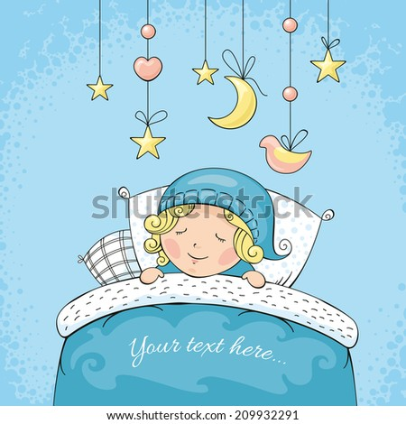 Adorable sleeping child vector illustration - stock vector