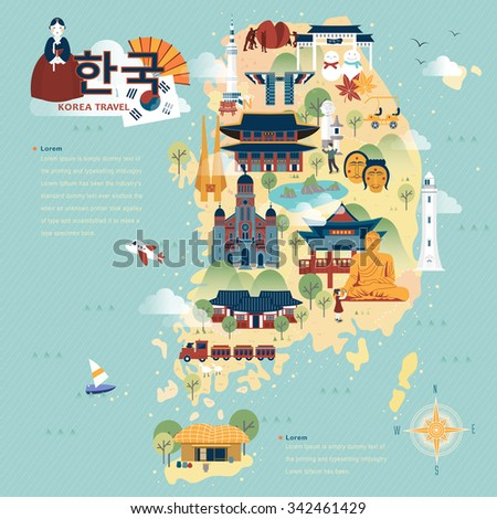 adorable South Korea travel map in flat style - Korea in Korean words on upper left - stock vector
