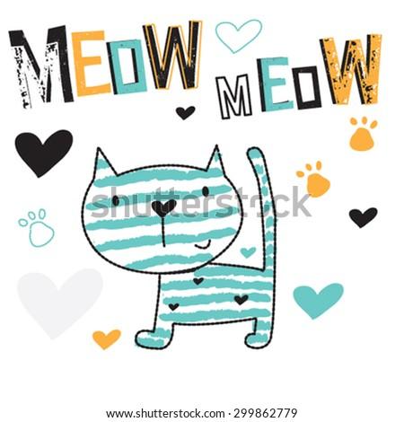 adorable striped cat, T-shirt design vector illustration - stock vector